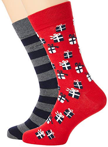 GANT Herren D2. 2-Pack Gift Box Klassische Socken, Charcoal Melange, Onesize