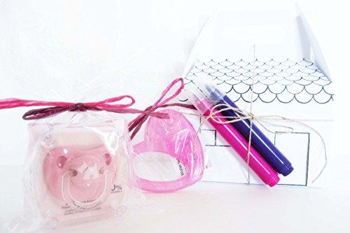 Cadeau 2 en 1 pour bébé et pour sœur/grand-père Boîte à dessin avec 2 feutres, une sucette et un anneau de refroidissement Canpol Baby Rose Pour filles