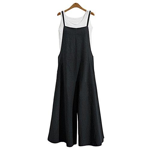 Women's Jumpsuit Casual Loose Long Suspender Twin Side Bib, Black, Size X-Large