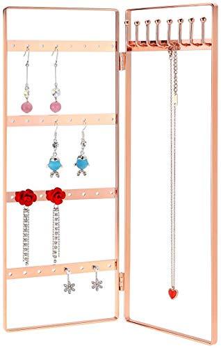 MORIGEM Schmuck Organizer mit 2 Ebenen Metall Schmuckständer klappbar für Ohrringe, Halsketten & Armbänder (Roségold)