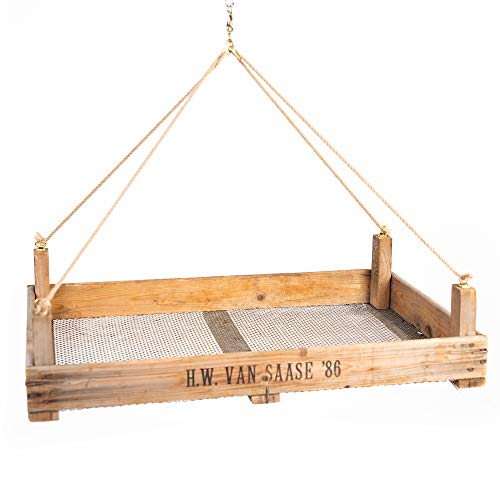 Panier suspendu en tamis à oignons rustique - Fabriqué à la main - Dimensions : 75 x 51 x 9 cm.
