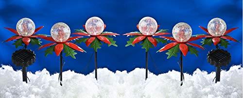 LED Solar-Weihnachtsterne 2x3er mit Farbwechsel Weihnachtsdeko Gartendeko Balkon