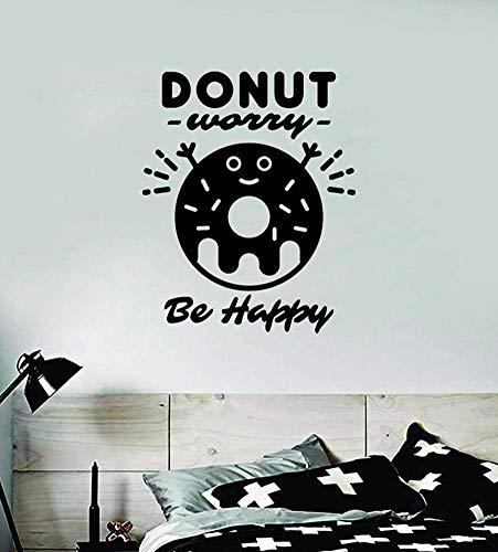 Autocollant en vinyle « Donut Worry Be Happy » pour chambre à coucher, chambre d'adolescent