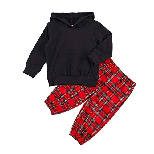 Baby Girl Clothes 2pcs Infant Kid Hoodie Sweatshirt Long Sleeve Top+ Elastic Waist Pants with Pockets Winter Outfits Set (#1 Black Top+Red Plaid Pants, 12-18 Months)