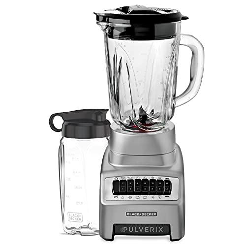 Black + Decker BL1140MS-MX Licuadora Pulverix 12 vel 700 watts jarra de vidrio + mini vaso (Gris)