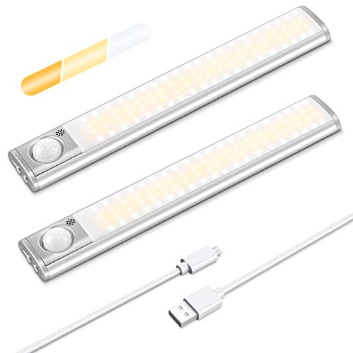 AGPTEK Luce LED Armadio con Sensore di Movimento,80 LED Luci Camera da Letto Ricaricabile USB,Wireless Luci Guardaroba Notturne Lampada con Striscia Magnetica Adesiva per Cucina,Corridoio,Esposizione