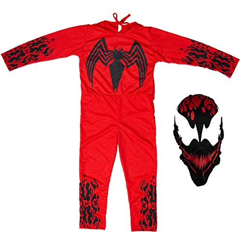 Fantasia Venom Vermelho Longo Infantil Carnage Com Máscara (M 5-8)