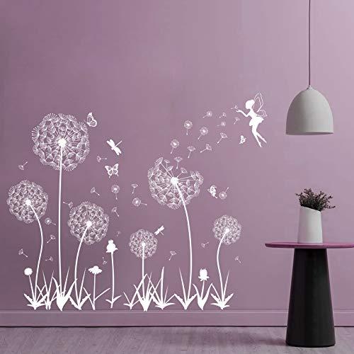 Pusteblume Fensterbilder Fensteraufkleber Selbstklebend Wandtattoo Wandsticker Löwenzahn Schmetterlinge Pflanzen Deko für Fenster Wohnzimmer Schlafzimmer Küche Bad Flur Weiß (Weiß)