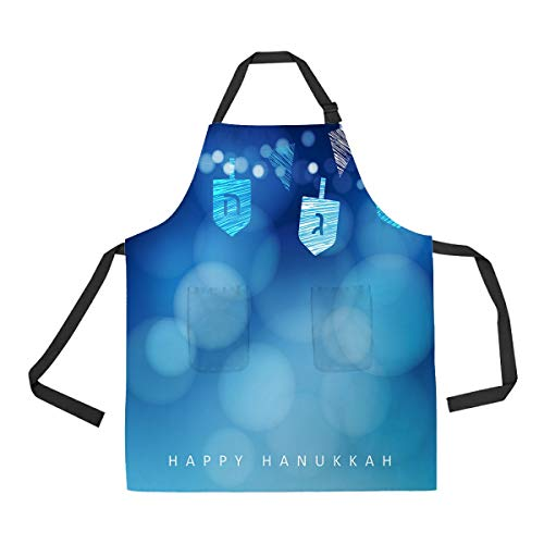 ECZJNT Hanukkah Blue with String of Light and Dreidels Adjustable Bib Kitchen Apron with Pockets for Women Men