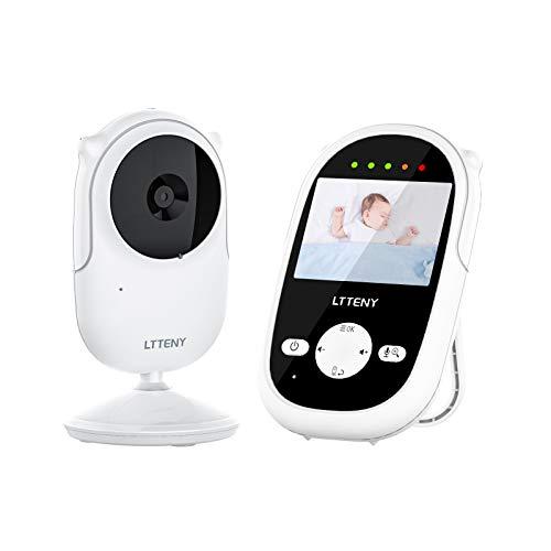 Ltteny Vigilabebés con Camara y Intercomunicador,LCD TFT de 2,4 ''de Bebé Monitor con Visión Nocturna,Audio Bidireccional,4 Canciones de Cuna,Despertador,Zoom digital 2x.