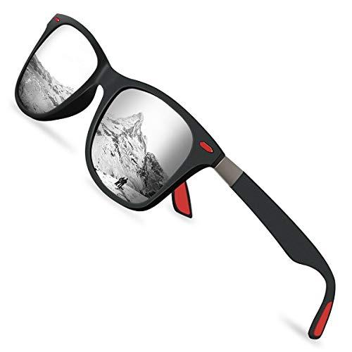 Sunmeet Gafas de Sol Polarizadas Hombre Mujere para Conducir Deportes100% Protección UV400 Gafas para Conducción(Plateado/Negro)