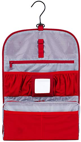 KRONIFY Kompakter Kulturbeutel Frauen zum Aufhängen mit Spiegel für Damen und Herren kleine Kulturtasche Reise Waschtasche für Backpacker Mann (Rot)
