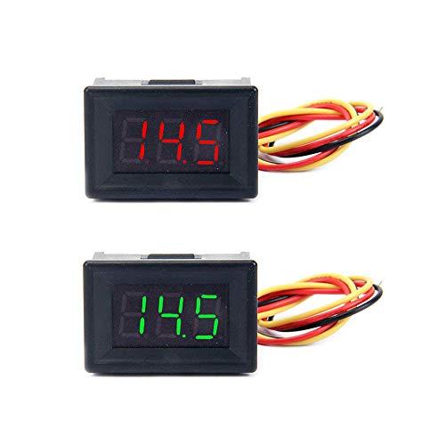 """Jolicobo 2 STÜCKE 0,36""""LED DC Spannungsmesser Panel 0-100 V 3 Draht mit Kopf Gehäuse Digital Voltmeter Elektrische Anzeige Genauigkeit Volt Monitor Tester, Rot, Grün Display"""