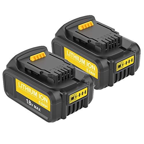 Topbatt 2Packs Sostituzione per Dewalt Batteria 18V 5.0Ah DCB184 DCB200 DCB182 DCB180 DCB181 DCB182 DCB201 con indicatore LED