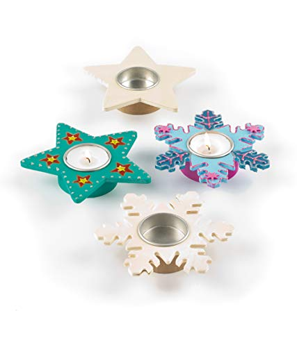 Baker Ross EX7082 Star & Snowflake Wooden Tealight Holders - Pack of 4, Ideal for Kids' Arts and Crafts,, Keepsakes