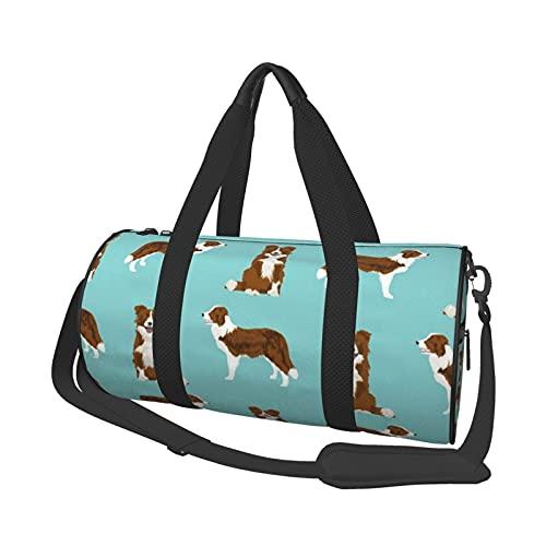 Sac de sport multifonction, unisexe, sac de sport en toile, sac à bandoulière, sac de voyage grande capacité, sac de voyage - manteau rouge Border Collie pour chien et animal domestique
