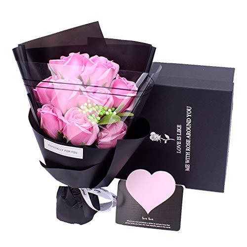 Amycute Fiori di Sapone Bouquet, Artificiale Rose Bouquet Floreale Handmade Sapone, Regalo per Anniversario, Compleanno, Matrimonio, San Valentine (Rosa)