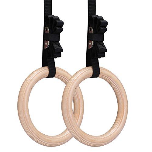 Gymnastische Ringe, Yimidear Holz Olympische Ringe mit Gürtelschnallen Gymnastik-Ringe für Krafttraining, Crossfit, Pull Ups und Dips