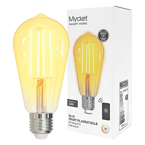 Mycket LED Filament Bulb Smart E27 Edison Light Lamp Bulb, Replacement for 40W Incandescent Bulb Warm White Light Ultra Bright Rustic Lamp Filament Style Clear E27 5.5W (ST64) [Energy Class A++]