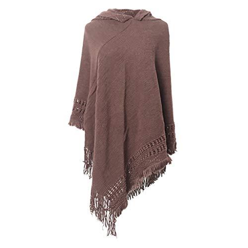 PLOT Schals für Damen Poncho Einfarbig Cape mit Kopftuch Bandana Winterschal Pashminas Umschlagtuch Tücher Stolen Stola Herbstschal Umschlagtücher