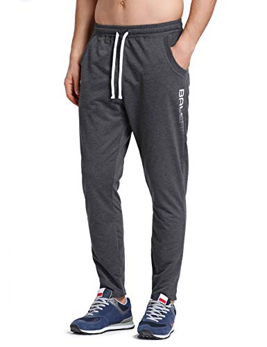 BALEAF Men's Tapered Athletic Running Pants Joggers Lounge Workout Sports Sweatpants with Pockets Dark Gray Size L
