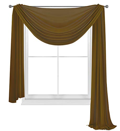 WPM WORLD PRODUCTS MART Elegance Sheer Voile Window Curtain Scarf Fully Stitched and Hemmed Valance 216'' Inch Long (Coffee Brown, 38' Inch x 216' Inch)