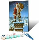 Vfvozr Pintar por Numeros Kits DIY_Soñar con Papá Noel Nevado_Pintura al óleo para Adultos y Niños DIY_Pintura acrílica con Lupa 3X Pinceles y Pinturas_30x45cm_Sin Marco