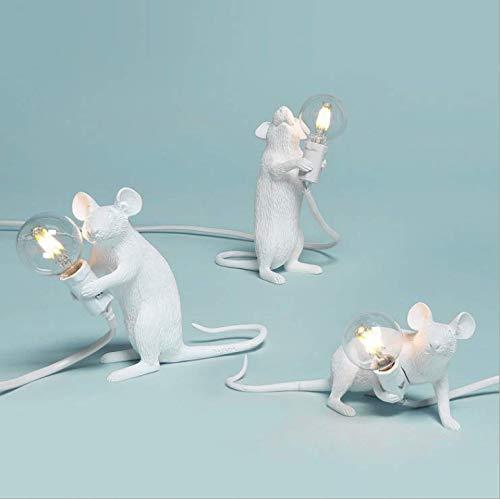 Lámpara de mesa de rat a nórdica lámpara de mesa de resina de ratón de dibujos animados