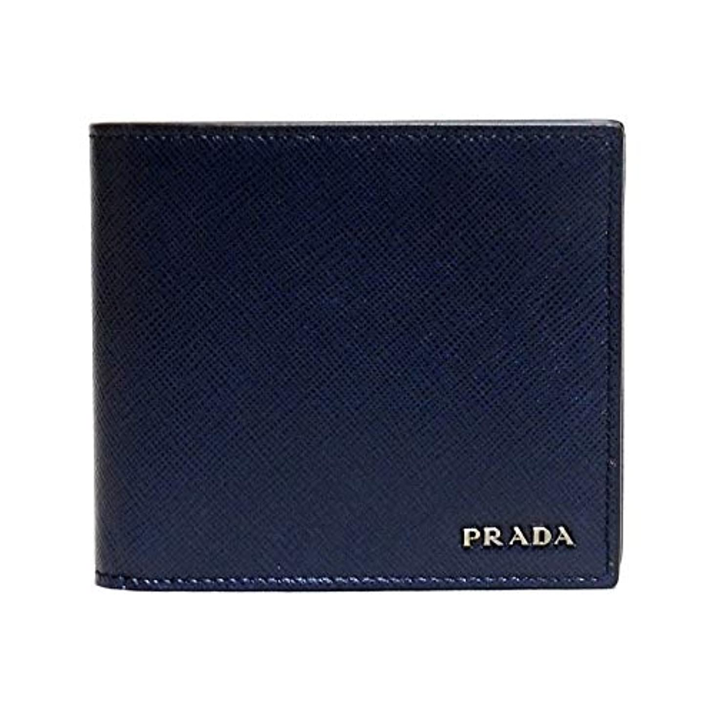正統派特権的ローブプラダ メンズ財布 バイカラー ネイビーブルー+グレー 2MO738_C5S_F0DVI PRADA