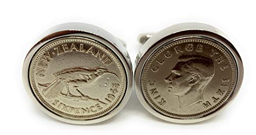 Premium 1945 NewZealand sixpence cufflinks for a 75th Birthday cufflinks
