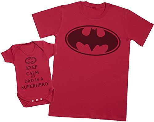 Keep Calm My Dad is A Hero - Passende Vater Baby Geschenkset - Herren T-Shirt & Baby Strampler/Baby Body - M & 0-3 Monate