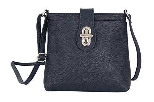 AMBRA Moda Damen echt Ledertasche Handtasche Schultertasche Umhängtasche Citybag Girl Crossover GL007 (Dunkelblau)