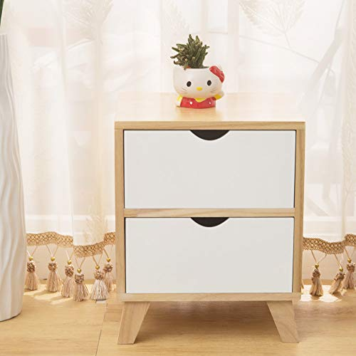 EXQUI Wooden Cabinet of 2 Drawers Night Stand Bedside Drawers Floor Standing Cabinet of Drawers for Bedroom,36x29.5x44cm, G998-2