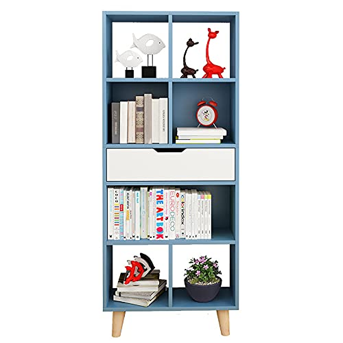 HFZY Estantería de pie para el suelo, multifuncional, pequeña estantería multiunidad para dormitorio, sala de estar, color azul