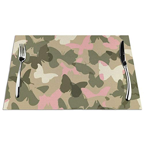 NiYoung Dining Placemat Heat Insulation Stain Resistant Washable Tablemats for Kitchen Dining Table Home Decoration, Non Slip Hot Pads (6 Pieces, Pink Butterfly Camo Place Mat)