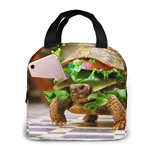 Burger Turtle Portable Insulated Lunch Bag with Zip and Front Pocket, Waterproof Box for Women Men Boys Girls Office School Hiking Beach Picnic Fishing