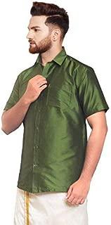 SJS-Men's Half Sleeve Solid Art Silk Shirt (Dark Olive Green, 36)
