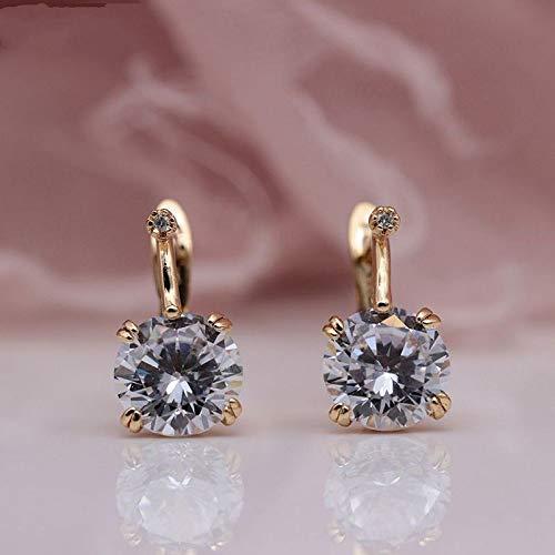 CHQSMZ Earring Round Big Natural Zircon Women Wedding Party Jewelry Accessories 585 Rose Gold Bohemia Cute Dangle Earrings