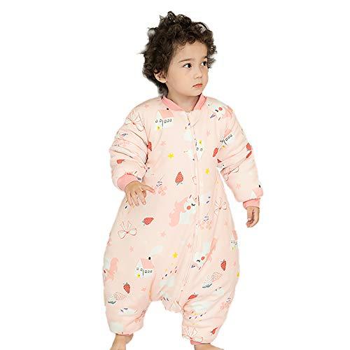 JinBei Sacco Nanna per Bambini Pagliaccetti Tuta Invernale Sacco a Pelo Manica Staccabile Cotone Cerniera a Due Vie Pigiama da Calda Vestiti Stampa Unicorno Rosa Carino 2-3 anni