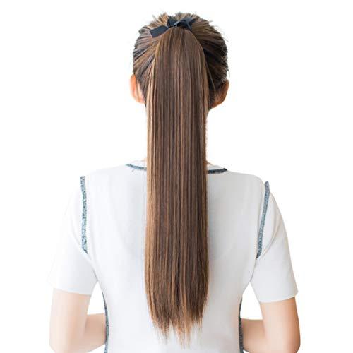 DEEKA ポニーテール エクステ ロング ストレート ウィッグ つけ毛 ライトブラウン-50cm