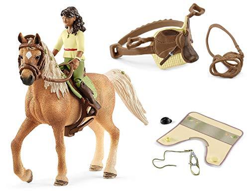 3in1-SET Schleich Pferde Horse Club - Sarah & Mystery mit extra Pferdedecke und Sattel 42414 + 42462 + 42492