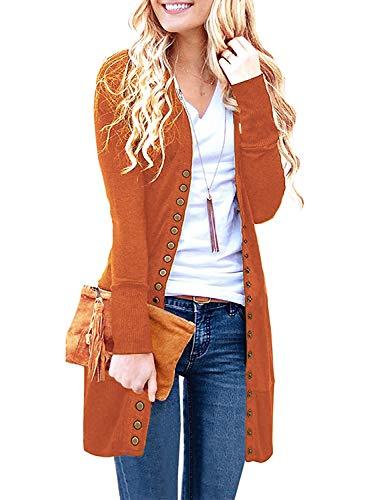 Viracy Womens Long Sweater Cardigans, Women's Long Sleeve Casual Knit Long Cardigan Sweaters Orange