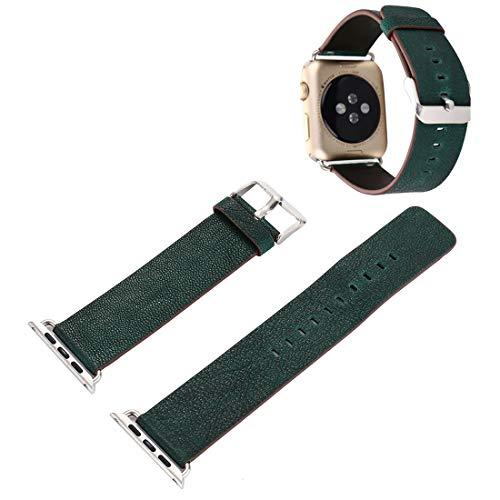 Uhrenarmbänder für Apfel Uhr for Apple-Uhr-Serie 3 & 2 & 1 38mm Pflanze Epidermis Texture PU-Leder-Armbanduhr-Band (Color : Green)