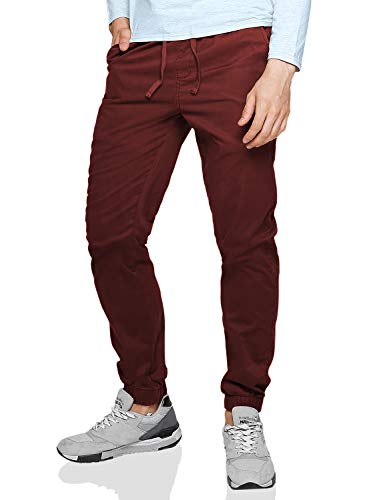 Match Men's Loose Fit Chino Washed Jogger Pant (32, 6535 Wine red)