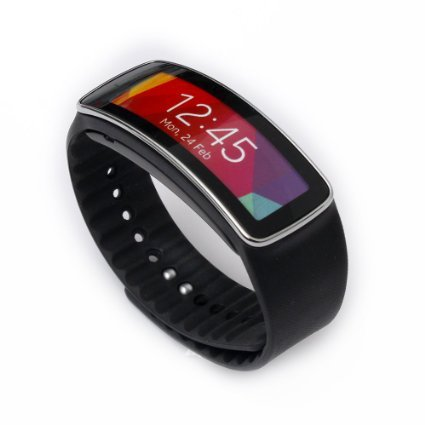 Woodln Replacement Band Wrist Strap para Samsung Galaxy Gear Fit R350 Smart Watch (Black)