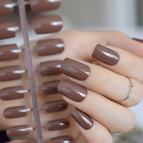 CoolNail Coffee Brown False Nails Tip Chocolate UV Effect Fake Nail Full Cover Medium Length Square ABS Artificial DIY Nail Manicure