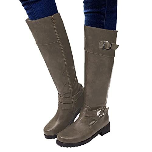 WEIBM Botas de vaquero medio calientes con hebilla vintage para mujer, zapatos de mujer