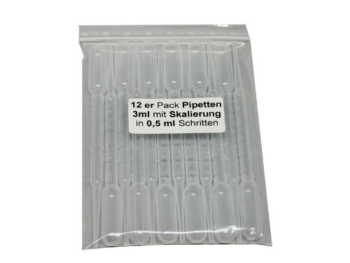 Smokerfuchs - Modellini pipette da 3 ml, per microdosaggo e aerografo, con scala graduata e aspiratore, confezione risparmio da 12 pezzi