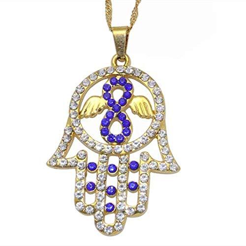 BACKZY MXJP Collar Amuleto De Mano Collar De La Suerte Joyas Mano De Fátima Collar con Colgante De Mano Joyas Hechas A Mano Tamaño del Colgante 25 Mm Longitud del Collar 50 Cm Collar