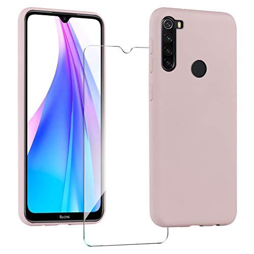 XinYue Funda para Xiaomi Redmi Note 8T + Protector Pantalla, Carcasa de Silicona Líquida Gel Ultra Suave Funda con tapete de Microfibra Anti-Rasguño - Rosa
